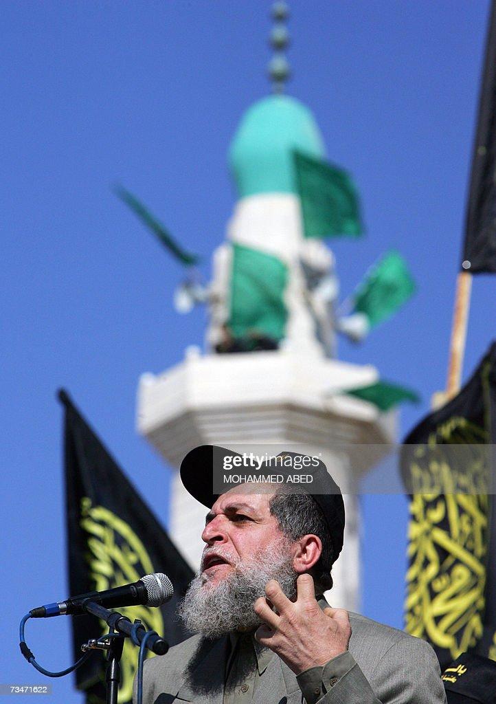 Islamic Jihad leader Nafez Azam speaks d... : Nieuwsfoto's