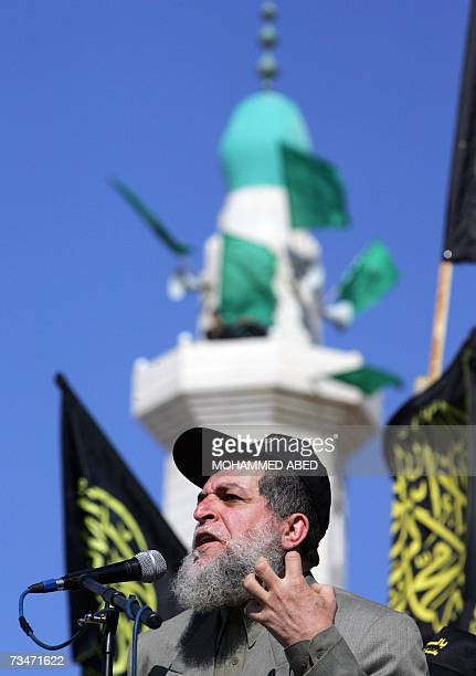 Islamic Jihad leader Nafez Azam speaks during a rally in Gaza City 02 March 2007 Thousands of Palestinians rallied in Gaza City in support of Islamic...