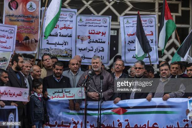 Islamic Jihad official Khalid AlBatash makes a speech during a protest against US President Donald Trumps announcement to recognize Jerusalem as the...