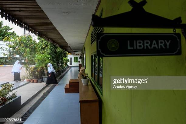 Islamic Junior high school building is seen as having a few student activities in Pekanbaru Riau Indonesia on March 16 2020 Indonesian government...