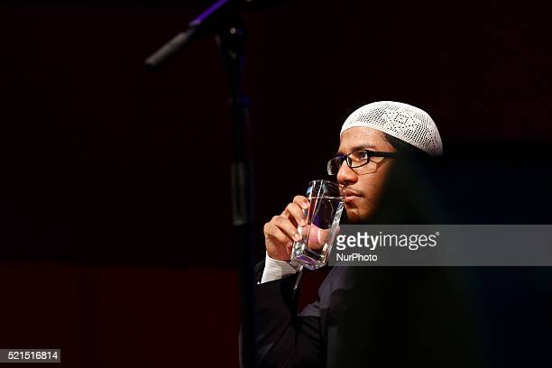 Islamic preacher Fariq Naik son of infamous preacher Dr Zakir Naik during public talk at University Science of Malaysia George Town on April 15 2016