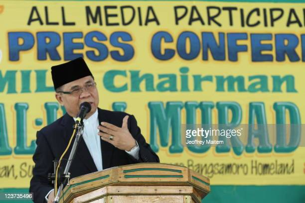 Islamic rebel leader Ibrahim Murad of the Moro Islamic Liberation Front speaks to reporters during a gathering inside their camp on September 5, 2011...