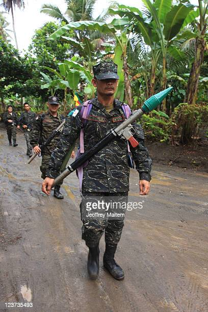 Islamic rebels of the Moro Islamic Liberation Front are seen inside their camp on September 5, 2011 in the southern Philippine township of Sultan...