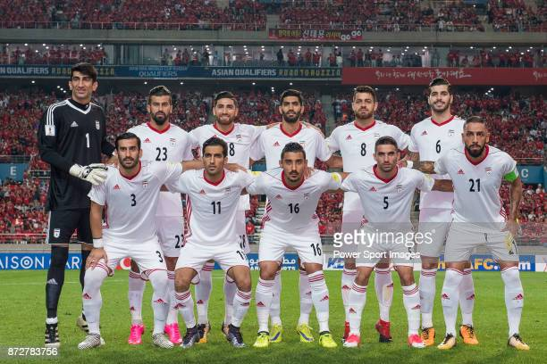 Islamic Republic of Iran squad poses for photos prior to their 2018 FIFA World Cup Russia Final Qualification Round Group A match between Korea...