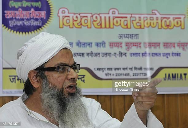 Islamic scholar and politician Maulana Mahmood A Madani General Secretary Jamiat Ulama IHind addressing the media persons about the World Peace...