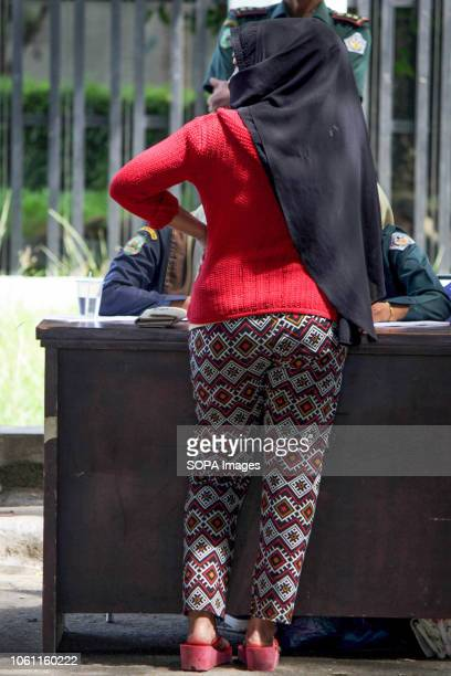 LHOKSEUMAWE ACEH INDONESIA Islamic Sharia Police Officers seen conducting data collection for those who violated Sharia law tight clothing by force...