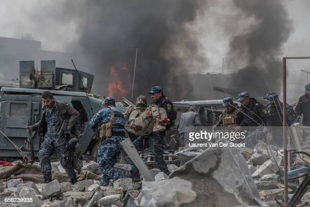 Islamic State suicide bulldozer explode some 40 meters rear of the front of the soldiers of Iraqi federal police's ERD near the Old Bridge facing the...