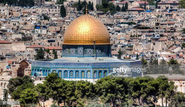 islamic temple exterior, dome of the rock, temple mount, jerusalem, israel - barulho stock pictures, royalty-free photos & images