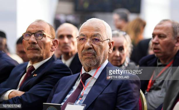 Islamist Ennahdha Party leader Rached Ghannouchi attends the Truth and Dignity Commission closing conference in the capital Tunis on December 14 2018...