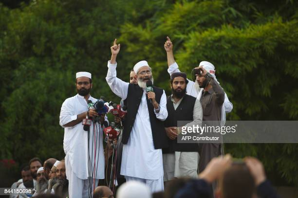 Islamist party JamateIslami chief Siraj ul Haq addresses demonstrators near the Myanmar embassy during a protest in Islamabad on September 8 2017...
