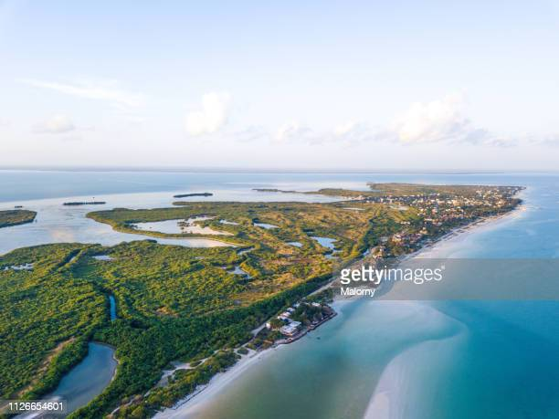 Island aerial view: Mexico, Island Holbox and the ocean.