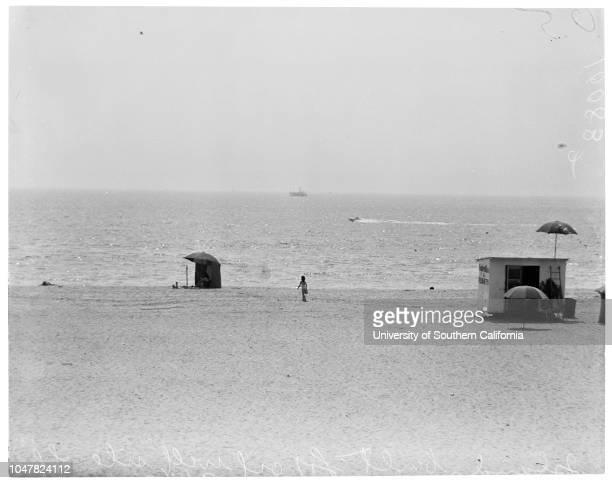 Island built for oil well site off Seal Beach, 4 September 1953. Jim Heid .;Caption slip reads: 'Photographer: Emery. Date: . Reporter: Attn. Milt...