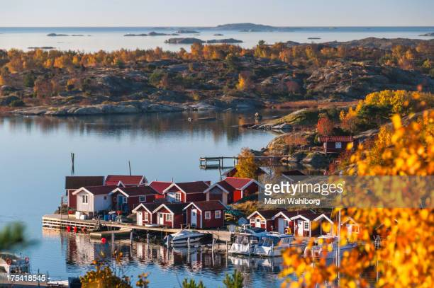 island in fall. horizon over water - sweden stock pictures, royalty-free photos & images