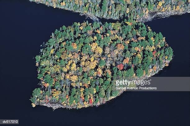 island in lake, wisconsin, usa, - iron_county,_wisconsin stock pictures, royalty-free photos & images