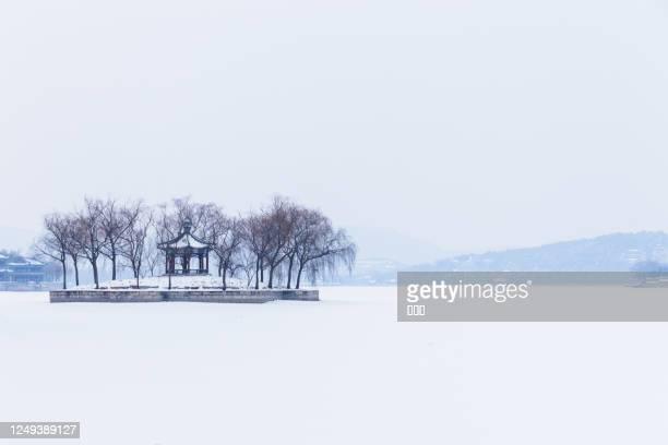 eiland in het meer na sneeuw - paviljoen stockfoto's en -beelden