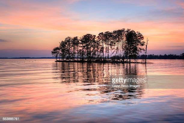 Island in the lake afterglow