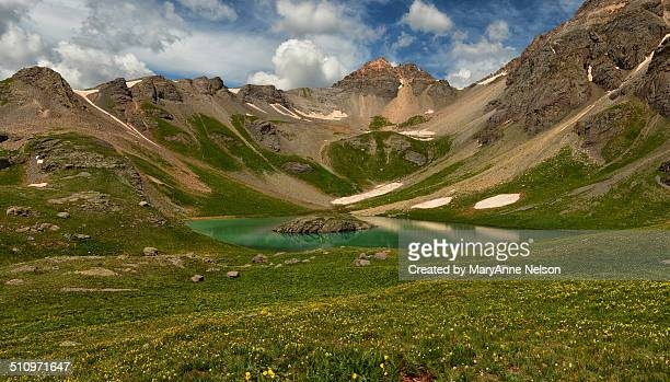 island lake - mary lake stock photos and pictures