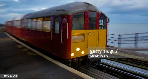 island line electric train on the isle of wight - isle of wight stock pictures, royalty-free photos & images