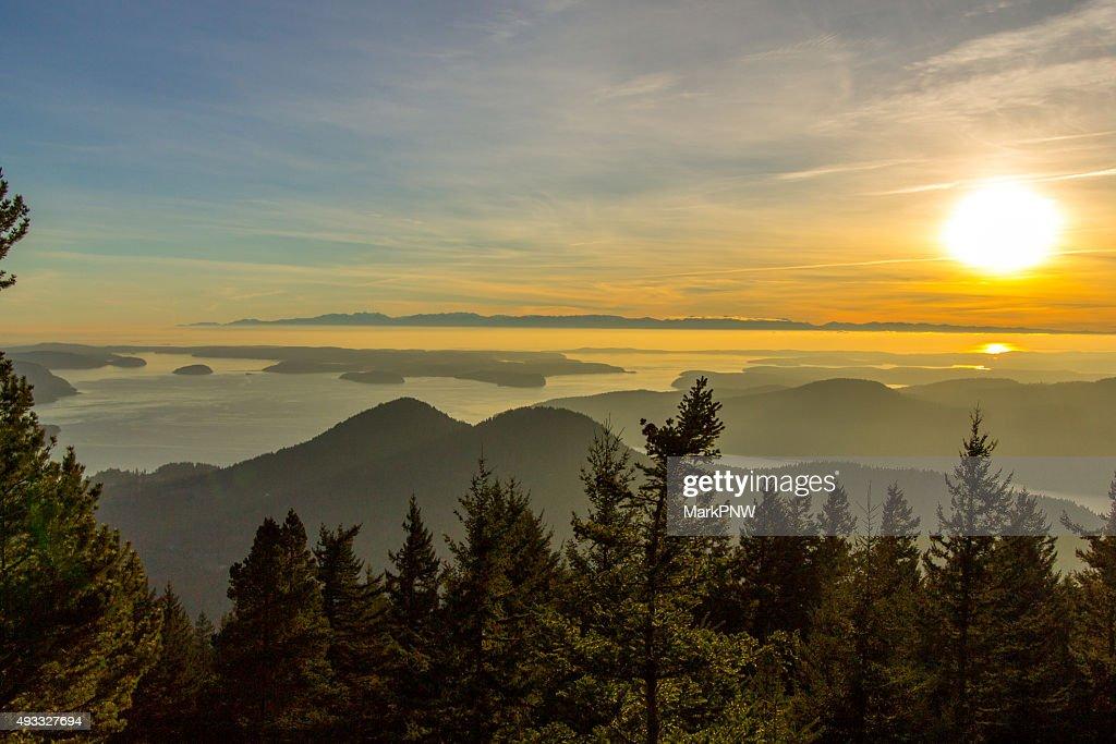 Island Mountain Sunset : Stock Photo