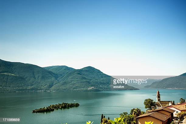 island of brissago, village ronco sopra ascona, lake maggiore switzerland - ascona stock pictures, royalty-free photos & images