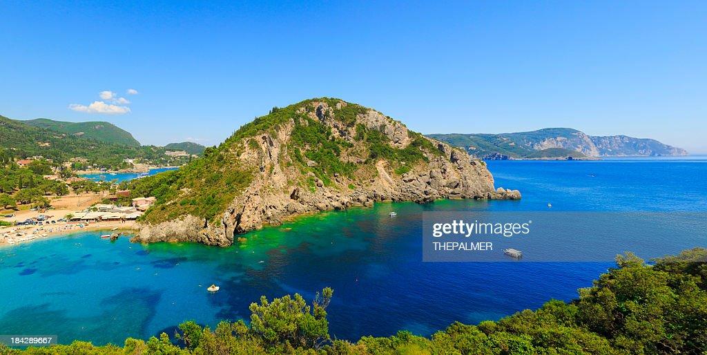 Island of Corfu and beach : Stock Photo