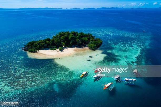 island of coron with a view of twin lagoon in palawan, philippines - palawan stock pictures, royalty-free photos & images