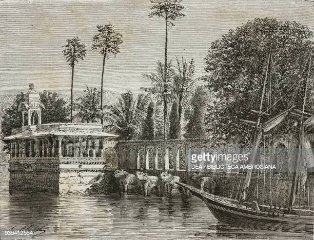 Island of Jag Mandir Udaipur engraving from India travel in Central India and Bengal by Louis Rousselet