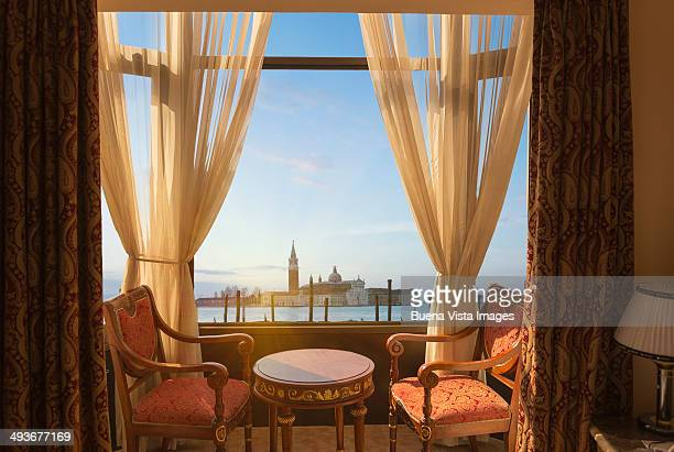 island of san giorgio view from hotel room - italian culture stock pictures, royalty-free photos & images