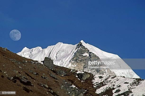 Island Peak and The Full Moon In The Everest Region Khumbu District Nepal