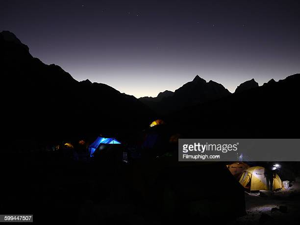 Island Peak base camp at night