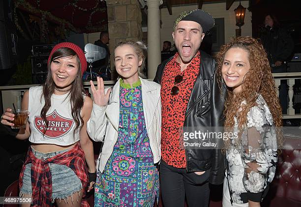 Island recording artists Nova Rockafeller Poppy Tyler Glenn and Helene attend Island Records Presents Island Life At No Vacancy on April 8 2015 in...