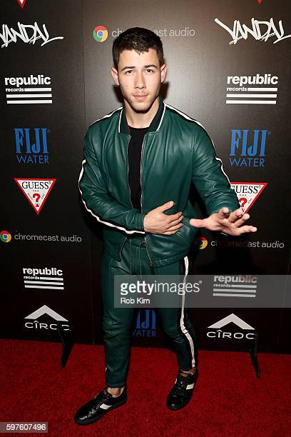 Island Records Artist Nick Jonas attends a celebration with Republic Records and Guess after the 2016 MTV Video Music Awards at Vandal with cocktails...