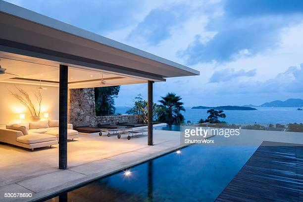 island villa - luxury hotel stock pictures, royalty-free photos & images