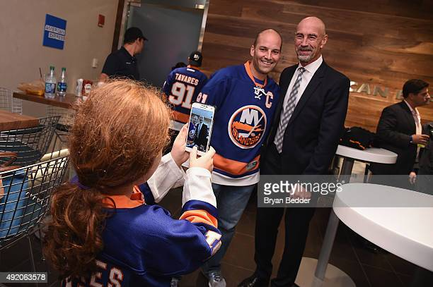 Islanders legend Bob Nystrom stops by The Centurion Suite by American Express Friday night during the Islanders Home Opener against the Blackhawks at...