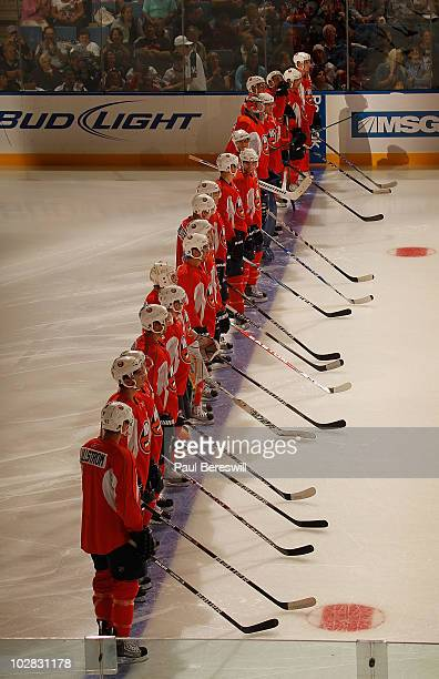 Islanders line up for introductions prior to a scrimmage game during the New York Islanders Rookie camp at Nassau Veterans Memorial Coliseum on July...