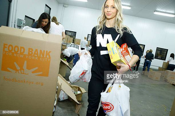Islanders players wife Cassie Clutterbuck attends 2016 Henrik Lundqvist Foundation Food Bank For New York City Repack Day Challenge at Food Bank for...