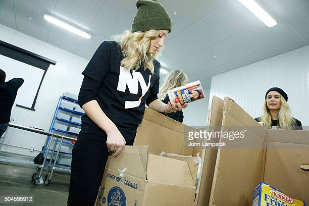 Islanders players wife Megan Bailey attends 2016 Henrik Lundqvist Foundation Food Bank For New York City Repack Day Challenge at Food Bank for New...