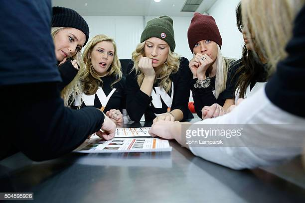 Islanders players wives Megan Bailey and Anne Sophie Bernier attend 2016 Henrik Lundqvist Foundation Food Bank For New York City Repack Day Challenge...