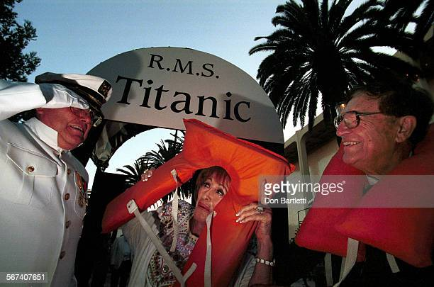 LSIslandersTitanic0824DB––NewportBeach –– Captain Dick Stevens of Newport B greets arriving guests Harriett and Irv Wieder of Huntington Beach to An...