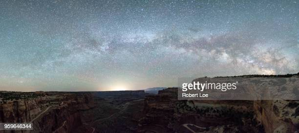 islands in the sky milky way - double arch stock pictures, royalty-free photos & images