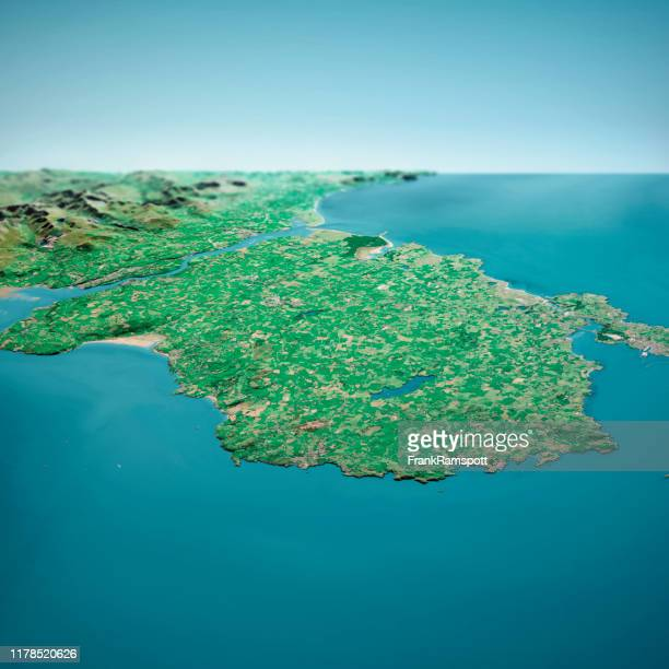 isle of anglesey 3d render aerial horizon view from north sep 2019 - frank ramspott stock pictures, royalty-free photos & images