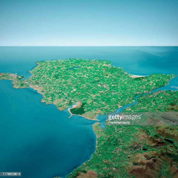 isle of anglesey 3d render aerial horizon view from south sep 2019 - frankramspott stock pictures, royalty-free photos & images