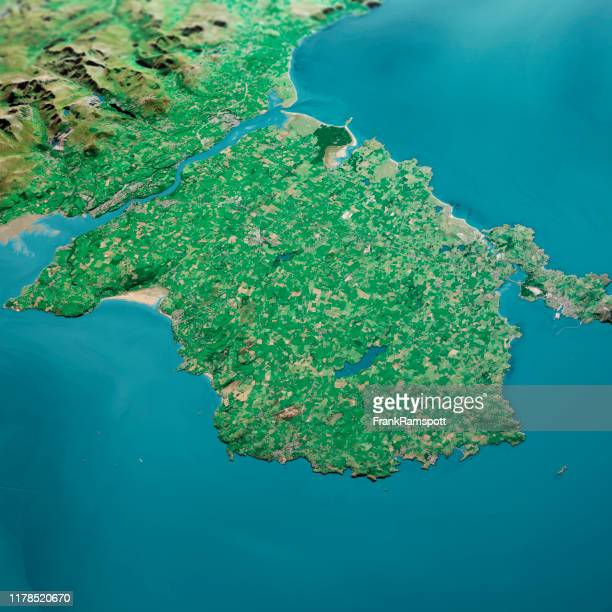 isle of anglesey 3d render aerial landscape view from north sep 2019 - frank ramspott stock pictures, royalty-free photos & images