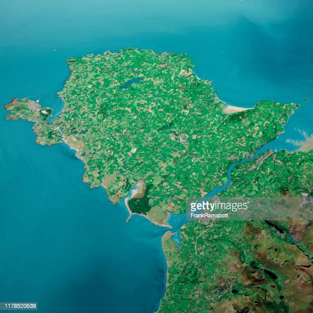 isle of anglesey 3d render aerial landscape view from south sep 2019 - frank ramspott stock pictures, royalty-free photos & images