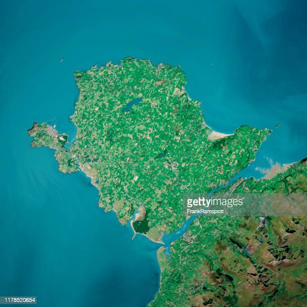 isle of anglesey 3d render aerial top view sep 2019 - frank ramspott stock pictures, royalty-free photos & images