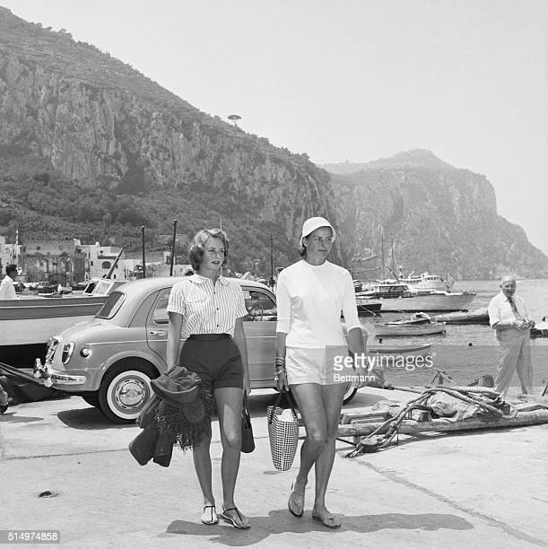 Isle Of Capri, Italy: Ingrid And daughter On Capri. Swedish born screen star Ingrid Bergman and her daughter Jenny Lindstrom, both wearing shorts in...