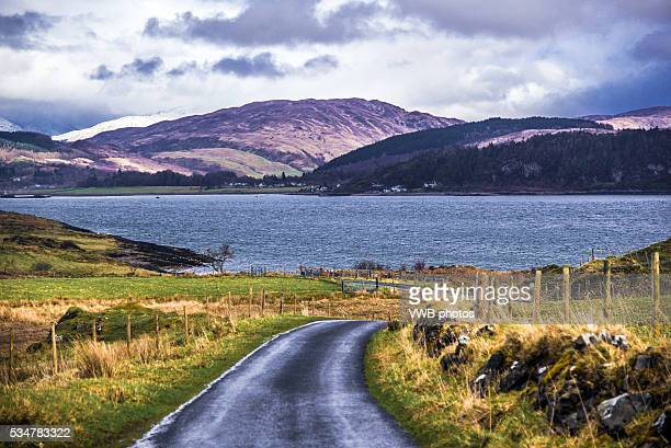 Isle of Lismore, road leading northward with views towards the head of Loch Linnhe