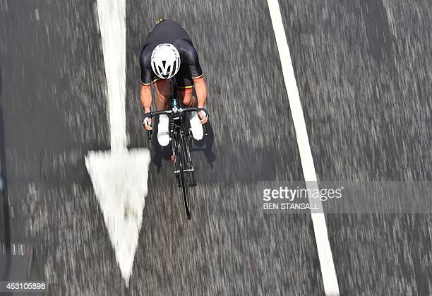 Isle of Man's Peter Kennaugh leads the Men's cycling road race during the 2014 Commonwealth Games in Glasgow Scotland on August 3 2014 AFP PHOTO /...