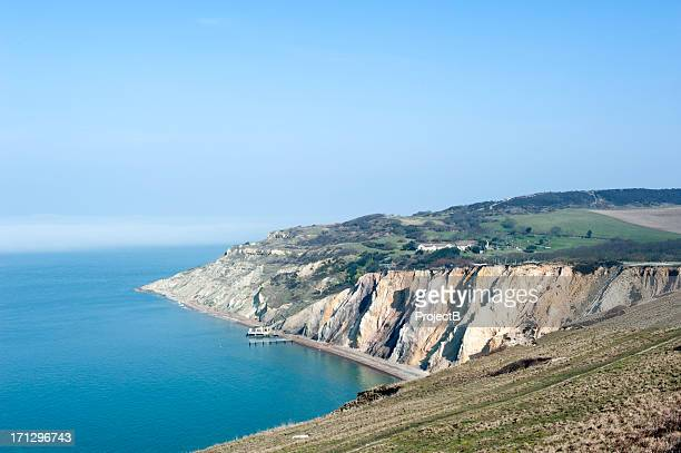 isle of wight cliffs - isle of wight stock pictures, royalty-free photos & images