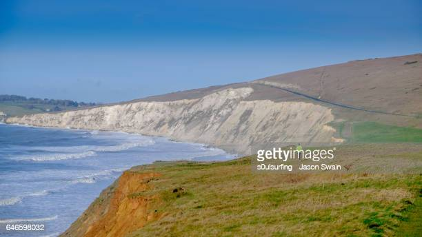 isle of wight coastal path - s0ulsurfing stock pictures, royalty-free photos & images